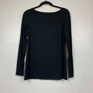 EILEEN FISHER Black Long Sleeve Scoop Neck Top